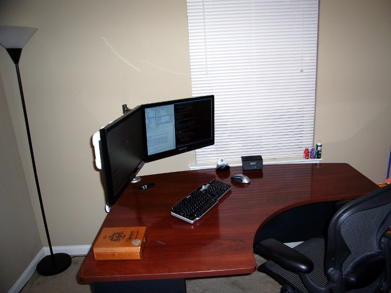 Brilliant Corner Desk For Two Monitors Do It Yourself Dual Lcd Monitor Stand Patshead Blog