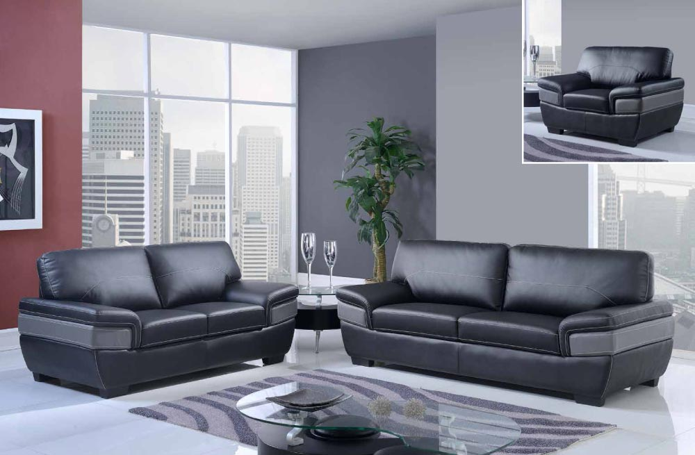 Brilliant Dark Grey Sofa Set Trendy Black And Dark Grey Modern Bonded Leather Sofa Set Gf7230
