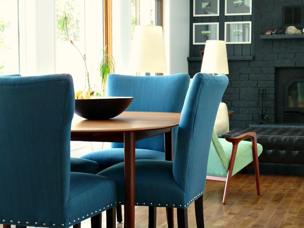 Brilliant Dark Teal Dining Chairs New Blue Tweed Dining Room Chairs Update The Dining Room Dans Le