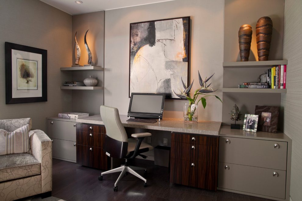 Brilliant Dark Wood Desks For Home Office Home Office Floating Shelves Home Office Contemporary With