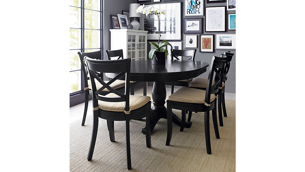 Brilliant Dark Wood Dining Chairs Vintner Black Wood Dining Chair And Cushion Crate And Barrel