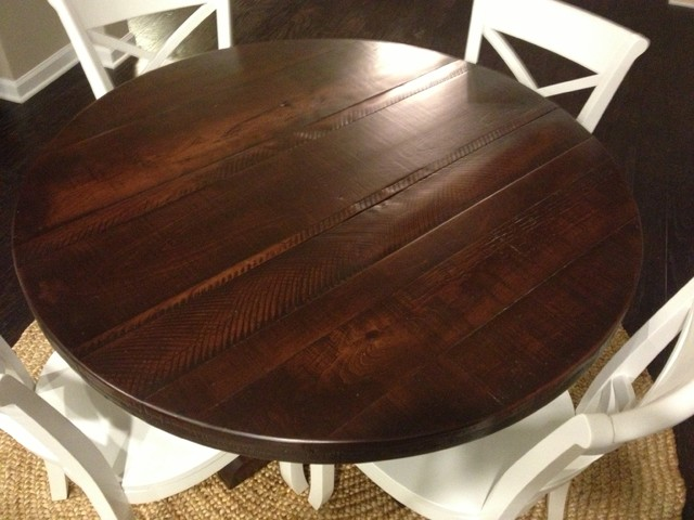 Brilliant Dark Wood Round Table Round Rustic Pedestal Table Dark Finish Eclectic Dining Room