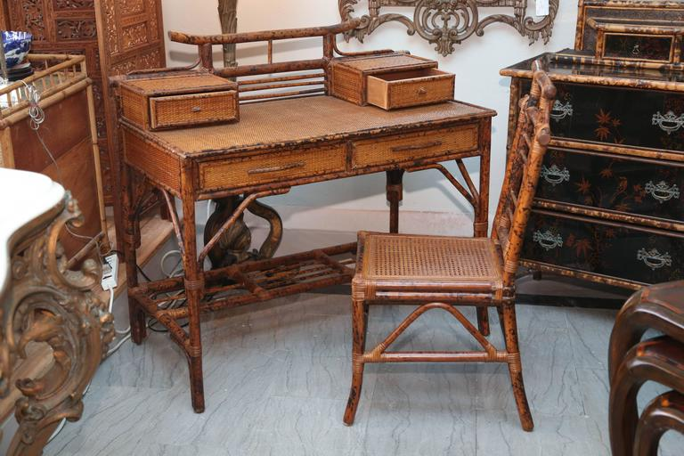 Brilliant Desk With Chair Faux Bamboo And Rattan Chinoiserie Desk With Chair For Sale At 1stdibs
