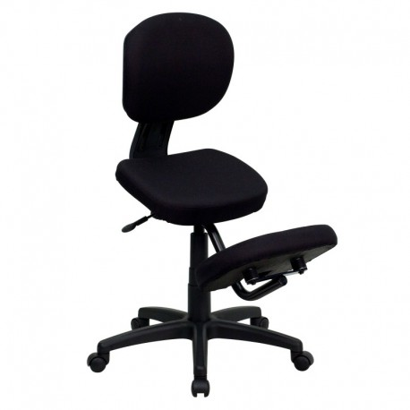 Brilliant Ergonomic Task Chair Mobile Ergonomic Kneeling Posture Task Chair In Black Fabric With Back