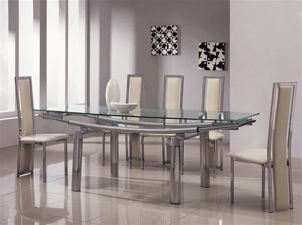 Brilliant Extending Glass Dining Table And Chairs Extendable Glass Dining Table Set Sl Interior Design