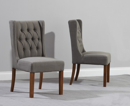 Brilliant Fabric Dining Chairs Buy The Safia Grey Fabric Dark Oak Leg Dining Chairs At Oak