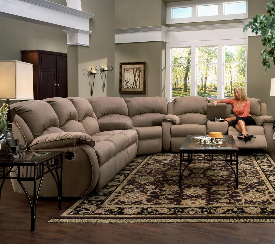 Brilliant Fabric Sectional Sofa With Recliner Living Room Sectional Sofas With Photo Gallery Sofa Recliner