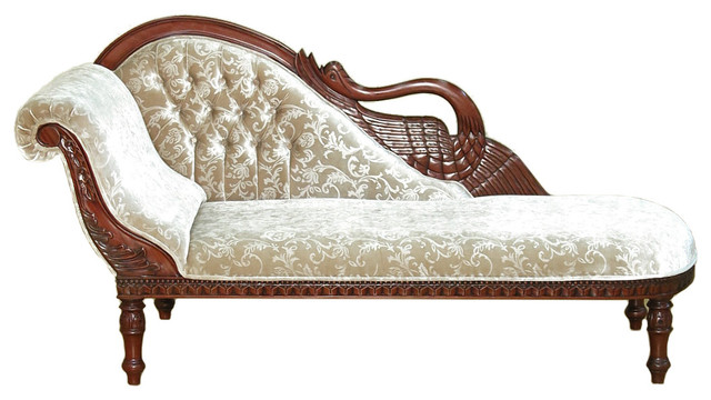 Brilliant Fancy Chaise Lounge Chairs Solid Mahogany Cherry Swan Chaise Lounge Victorian Indoor