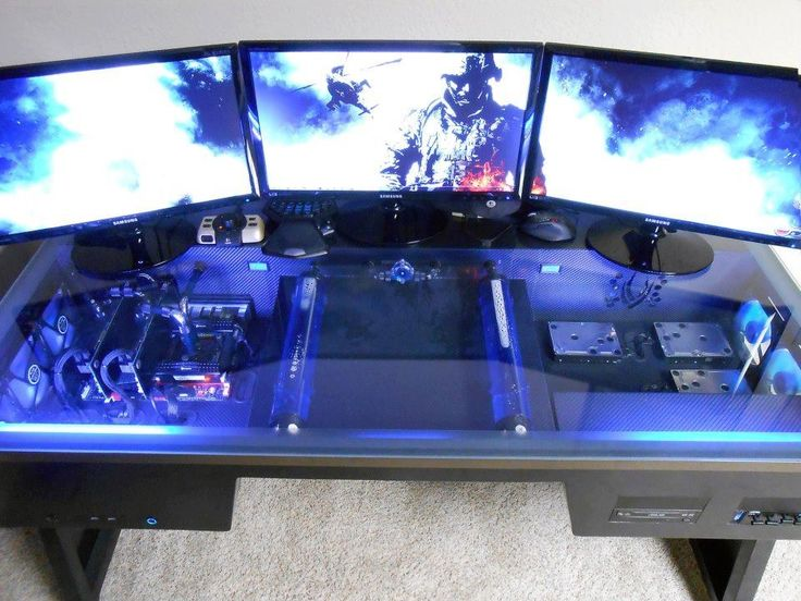 Brilliant Gaming Computer Desk Setup Three Screens Awesome Idc About A Living Room Lol I Just
