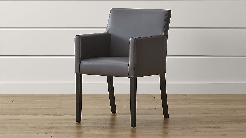 Brilliant Grey Dining Chairs With Arms Lowe Smoke Leather Dining Arm Chair Crate And Barrel
