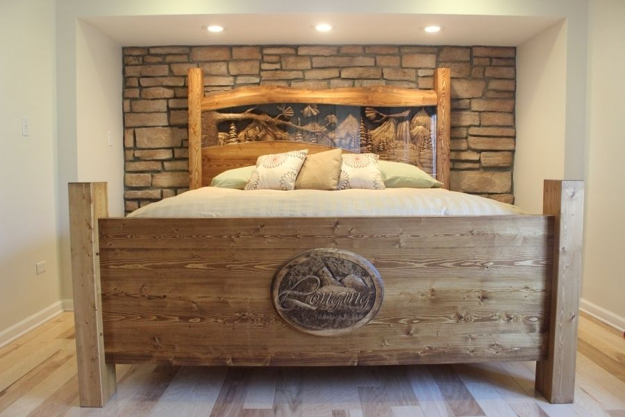 Brilliant King Size Headboard And Frame Hand Made King Size Headboard Footboard Waterfall Pine Forest