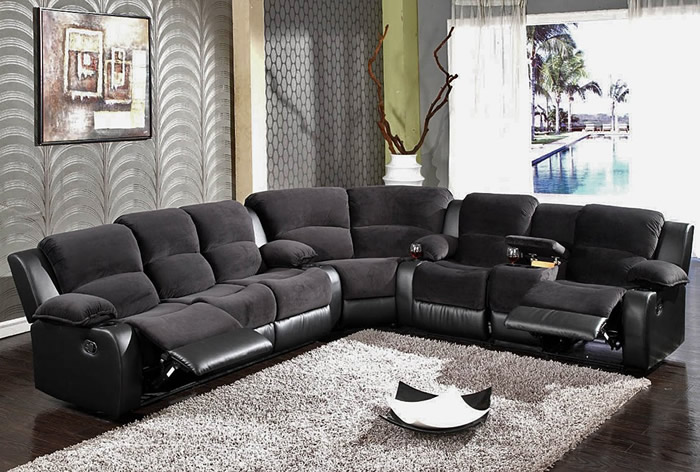 Brilliant L Shaped Recliner Sofa Black Recliner Sofa Sectional Sf 6001 S3net Sectional Sofas