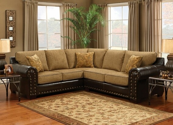 Brilliant Leather And Cloth Sectional Leather And Fabric Sectional Sofas Foter