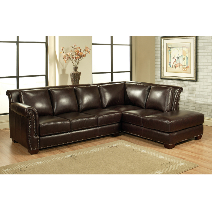Brilliant Leather Sectional With Chaise Glendale Sectional Sofa With Chaise In Burgundy Italian Leather