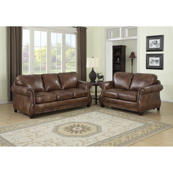 Brilliant Leather Sofa And Loveseat Sterling Cognac Brown Italian Leather Sofa And Loveseat Free