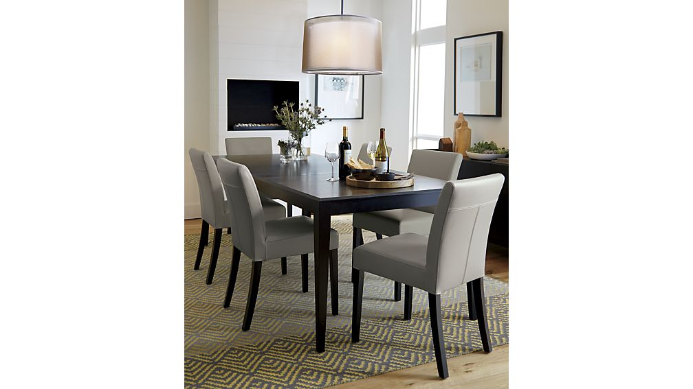 Brilliant Leather Upholstery For Dining Room Chairs Lowe Pewter Leather Dining Chair Crate And Barrel