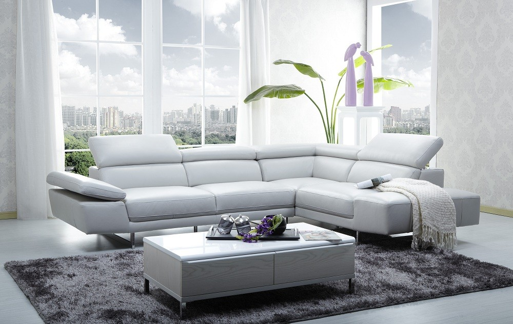 Brilliant Light Grey Sectional Couch 1717 Leather Sectional Sofa In Light Grey Color Jm Furniture