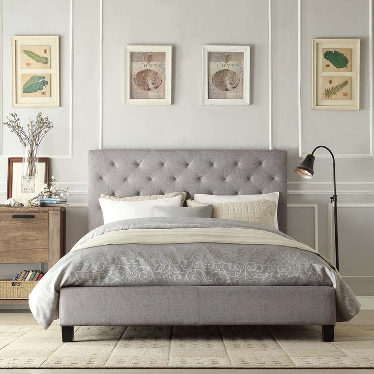Brilliant Platform Bed With Upholstered Headboard Best 25 Grey Bed Frame Ideas On Pinterest Grey Bed Wingback