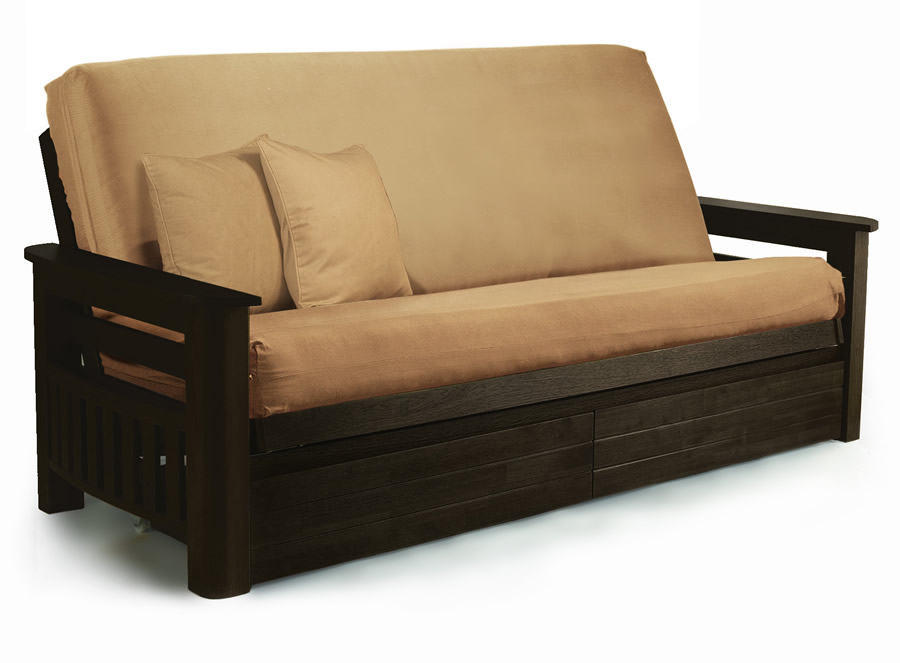 Brilliant Queen Size Futon With Storage Arizona Java Queen Futon Set Lifestyle