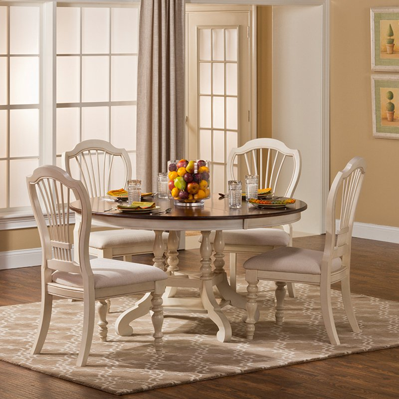 Brilliant Round Back Kitchen Chairs Hillsdale Pine Island 5 Piece Round Dining Set With Wheat Back