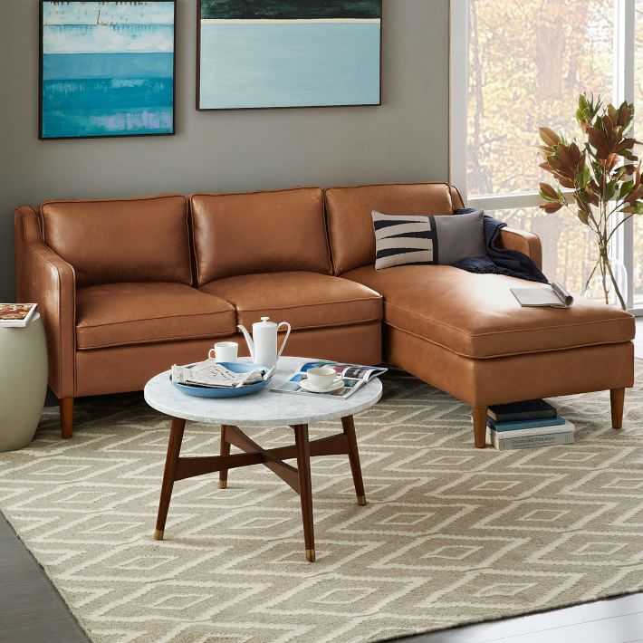 Brilliant Tan Leather Sectional With Chaise Hamilton 2 Piece Chaise Sectional West Elm