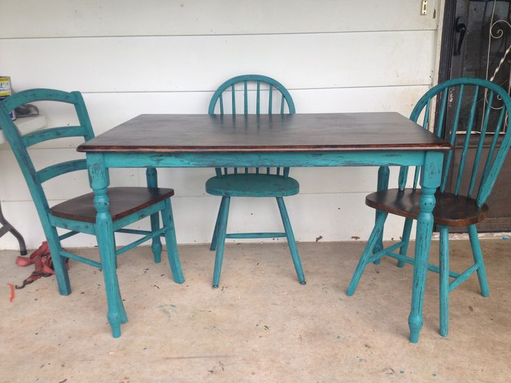 Brilliant Teal Kitchen Chairs 1463 Best Deliciouspainted Furniture Images On Pinterest