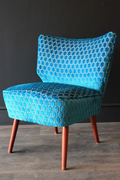 Brilliant Teal Velvet Accent Chair Upcycled 1950s Bartolomew Cocktail Chair Teal Blue Underground
