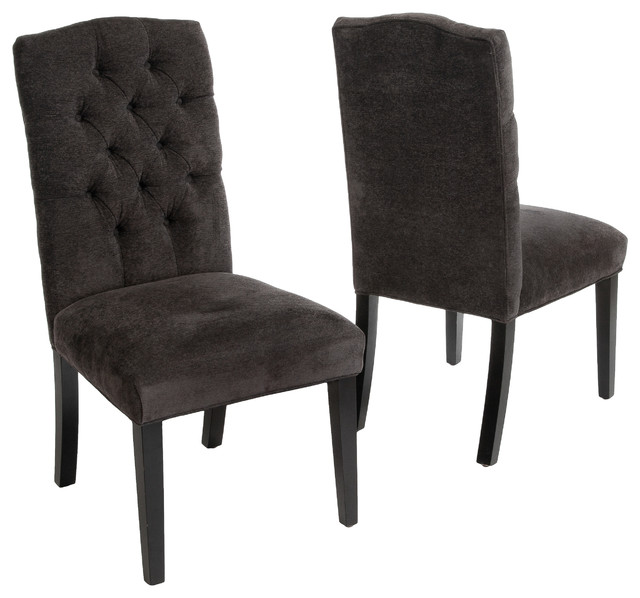 Brilliant Upholstered Dining Chairs With Black Legs Clark Tufted Back Dark Gray Fabric Dining Chairs Set Of 2