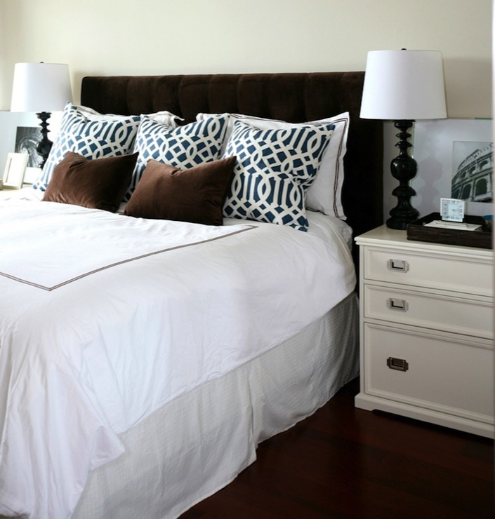 Brilliant White And Brown Nightstand Brown Headboard Design Ideas