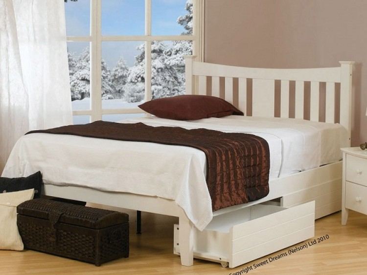 Brilliant White Wooden Bed Frame Sweet Dreams Kingfisher 4ft 6 Double White Paintded Wooden Bed Frame