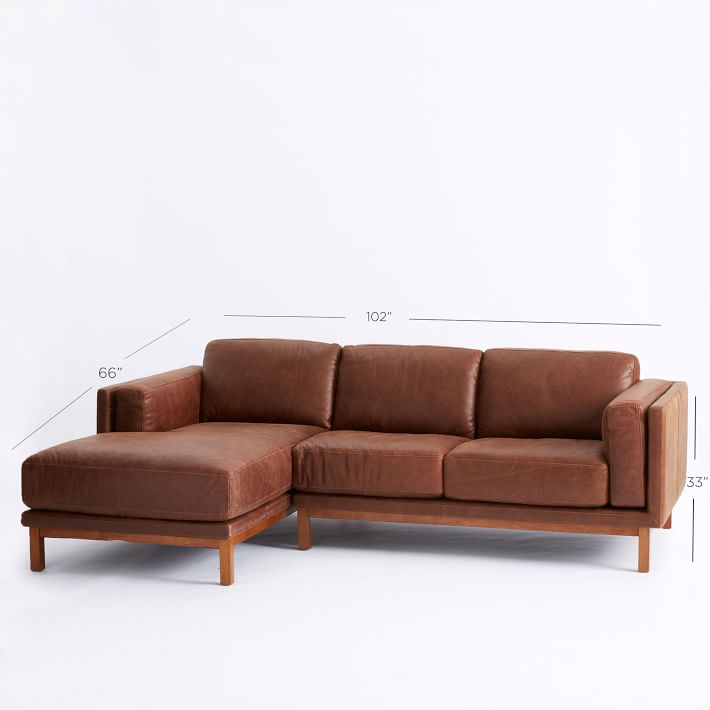 Chic 2 Piece Sectional Couch Dekalb Leather 2 Piece Chaise Sectional West Elm