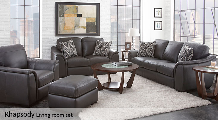 Chic 4 Piece Leather Living Room Set Rhapsody Costco