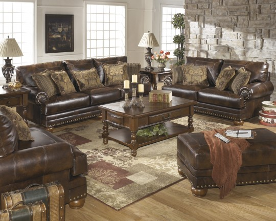 Chic Ashley Brown Leather Couch Ashley Brown Leather Durablend Antique 4pc Sofa Package Ashley