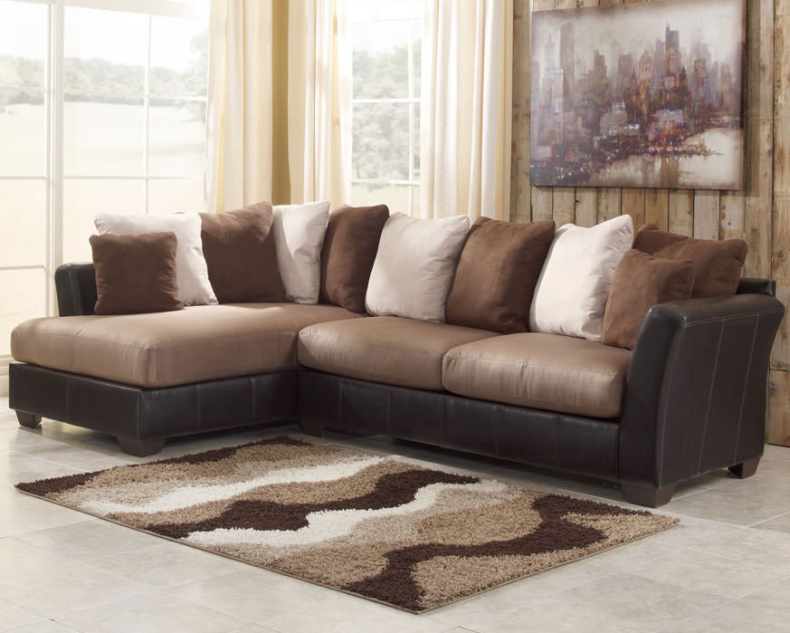 Chic Ashley Furniture Microfiber Sectional Masoli Mocha Sectional Sofa Set Signature Design Ashley Furniture