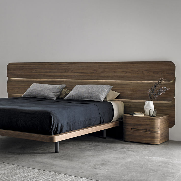 Chic Bed With Side Headboard Double Bed Contemporary With Headboard With Side Table Dod