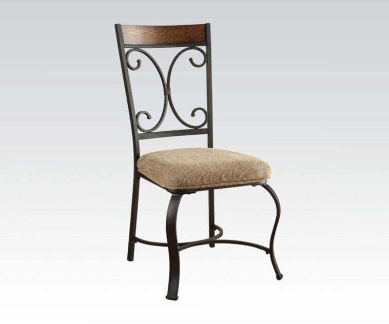 Chic Black Dining Chairs With Upholstered Seats Furniture Black Iron Dining Chair With Brown Wooden Top Back