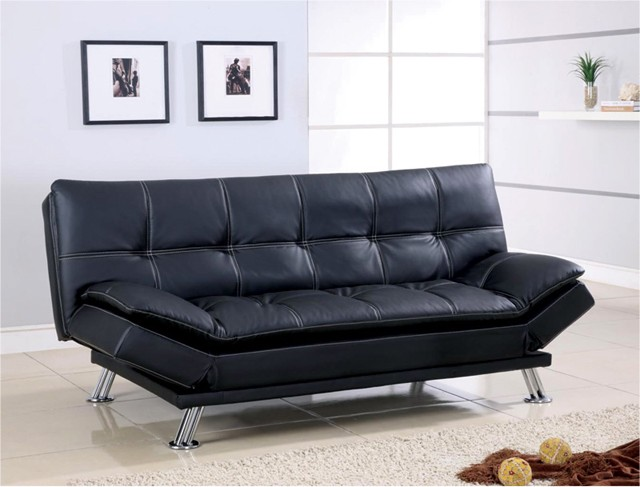 Chic Black Leather Futon Couch Best Black Leather Futon Couch 57 With Additional Office Sofa Ideas