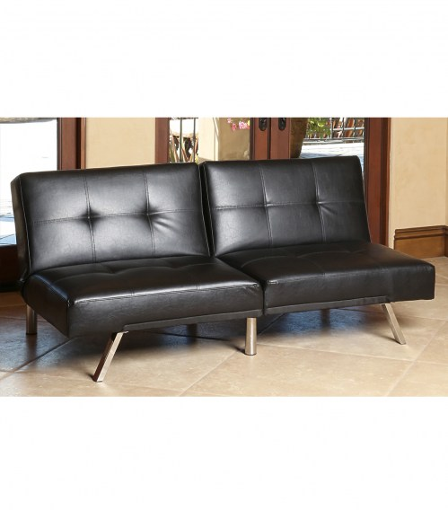 Chic Black Leather Futon Couch Futons