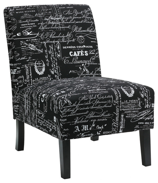 Chic Black White Accent Chair Cortesi Home Chicco Black Script Fabric Armless Accent Chair