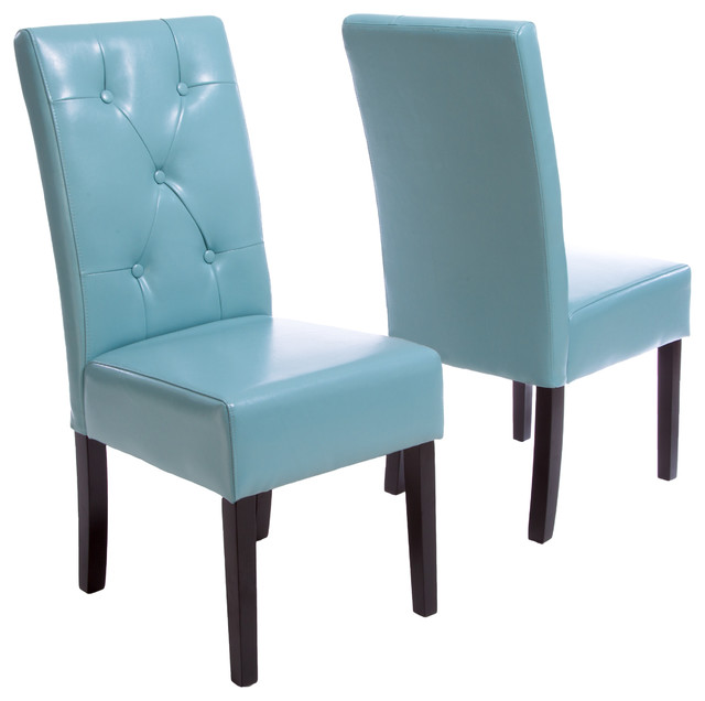 Chic Blue Dining Chairs Alexander Leather Dining Chairs Set Of 2 Contemporary Dining