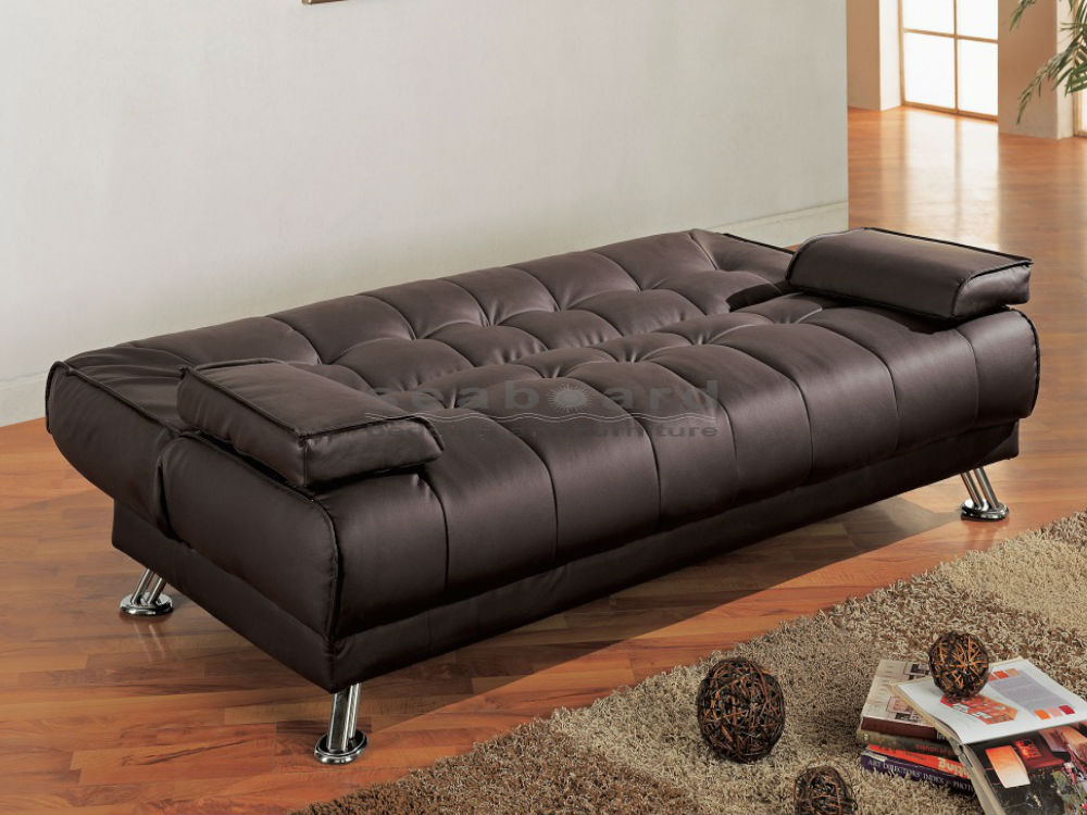 Chic Brown Futon Sofa Bed Coaster 300148 Brown Vinyl Sofa Bed Futon