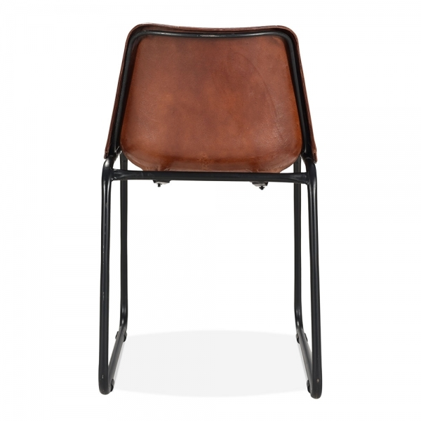 Chic Brown Leather Kitchen Chairs Brown Leather Maxwell Metal Dining Chair Industrial Kitchen Chairs