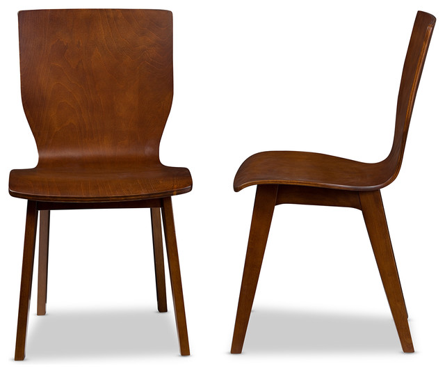Chic Brown Wood Dining Chairs Elsa Bent Wood Dining Chair Walnut Dark Brown Set Of 2