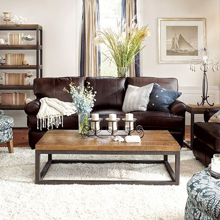Chic Chocolate Brown Leather Sofa Hadley 89 Leather Sofa In Napa Valley Chocolate Coffee Lights