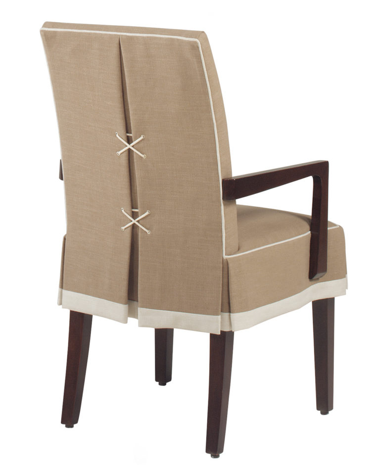 Chic Cream Dining Chairs With Arms Furniture Brown Wooden Chair With Cream Slipcover With White