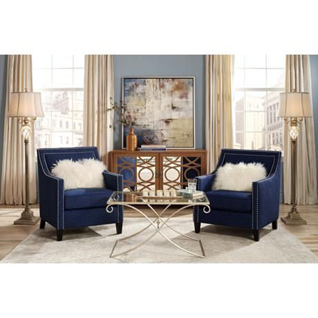 Chic Dark Blue Accent Chair Sofa Exquisite Living Room Accent Chairs Blue