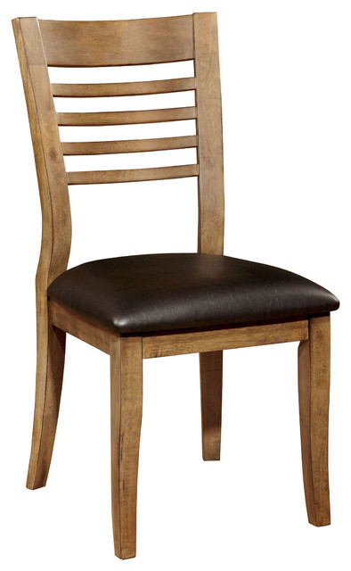 Chic Dining Side Chairs Natural Tone Wood Dining Side Chair Ladder Back Leatherette