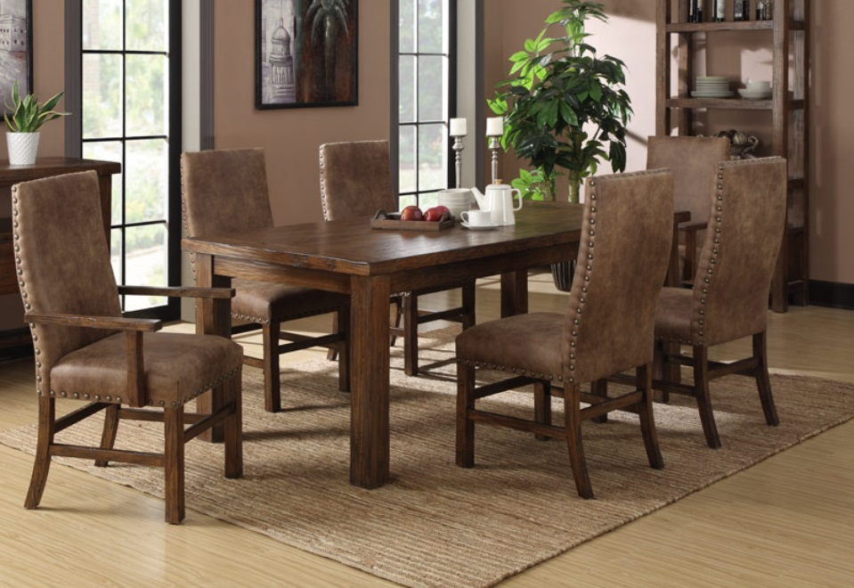 Chic Dining Table Chairs With Armrests Bradleys Furniture Etc Utah Rustic Dining Room Furniture
