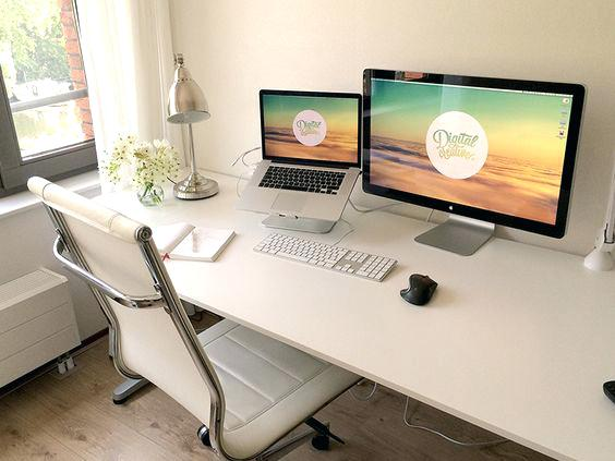 Chic Dual Monitor Office Setup Home Office Set Up Adammayfieldco