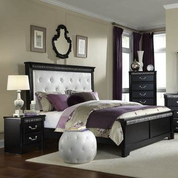 Chic Fabric Headboard Bedroom Sets Standard Furniture Venetian Black 3 Piece Panel Bedroom Set W